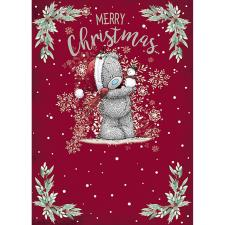 Bear Holding Snowman Me to You Bear Christmas Card