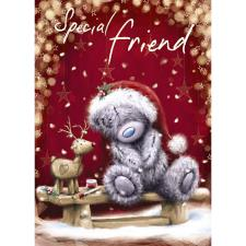 Special Friend Softly Drawn Me to You Bear Christmas Card