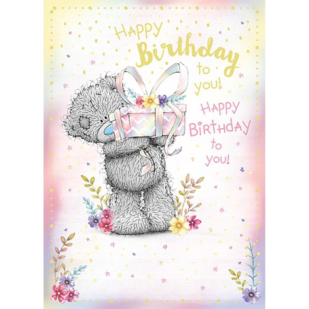 Happy Birthday Bear Holding Gift Me To You Card 179