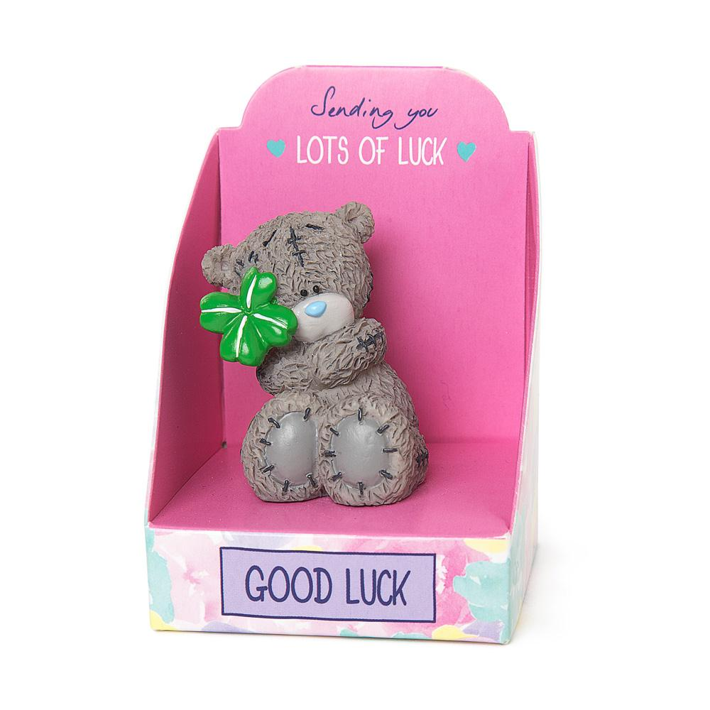 good luck me to you bear mini resin figurine