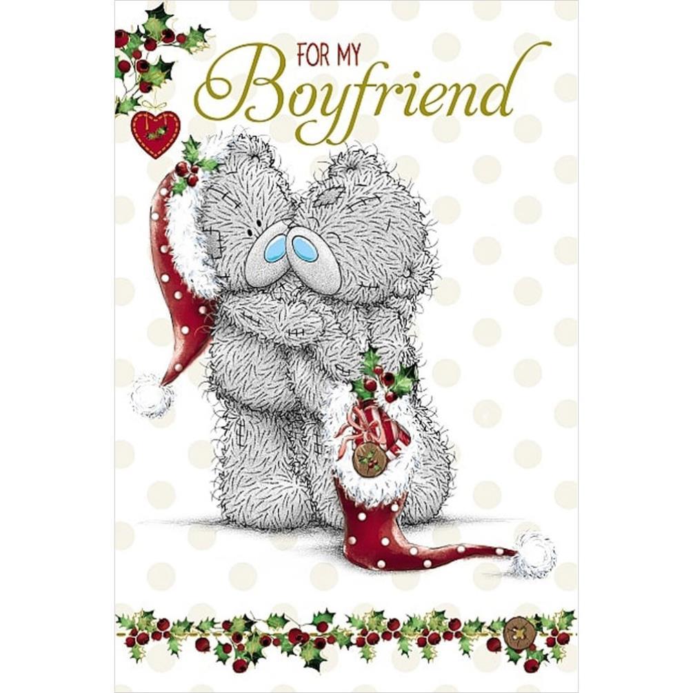 Boyfriend Bears Hugging Me To You Bear Christmas Card
