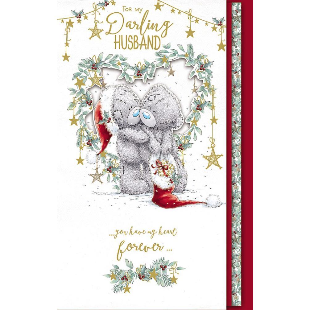 darling husband handmade me to you bear christmas card