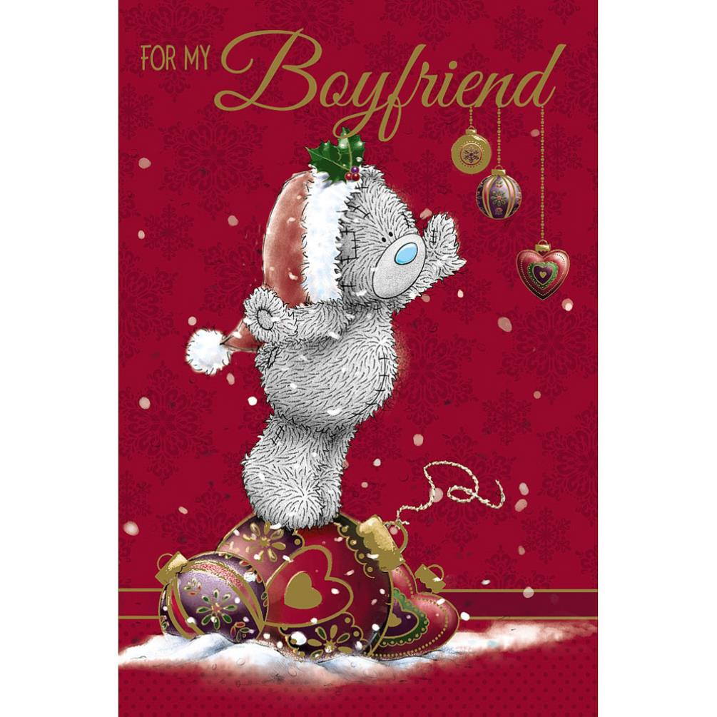 Me To You For My Boyfriend Christmas Card Bear Bauble Tatty
